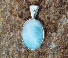 Larimar .925 Sterling Silver Oval Gemstone Jewelry Ocean Blue Pendant USA