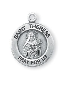 """Reginas Catholic Gifts - Sterling Med Rd St Therese Medal-18""""Ch, $33.50 (http://www.reginascatholicgifts.com/sterling-med-rd-st-therese-medal-18ch/)"""