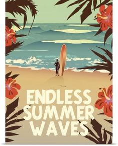 Retro vibes with this 'Endless Summer Waves' surf poster. Perfect for your campervan! Hawaii Vintage, Surf Vintage, Graffiti, Surf Retro, Photo Surf, Surf Mar, Illustrations Vintage, Posca Art, Beach Posters