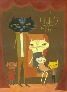 """Cat family portrait"" by Matte Stephens"
