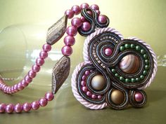 Soutache Brown Pink and Rose Pearl Beadwork by BellaLucaDesigns, $77.00