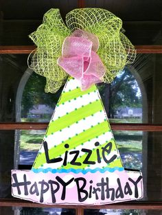 Birthday Hat Door Hanger Bronwyn Hanahan by BronwynHanahanArt. $45.00, via Etsy.