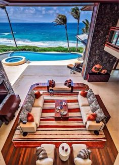 Island Impact This incredible Maui beachfront home features a indoor/outdoor living room with pocketing doors that open to breathtaking ocean views. Deco Design, Küchen Design, Design Ideas, Patio Design, Placard Design, Dream Beach Houses, Style At Home, Resort Style, Coastal Living