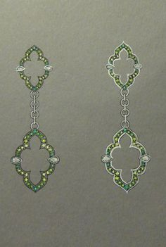 Earring design, rendered to show different setting styles.  Set with varying hues of Garnet and peridot