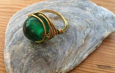 green stone ring #handmade #unique #wire #ring #gold #silver #stone #jewellery #craft #diy #buy www.magpiehandmadedesigns.co.uk