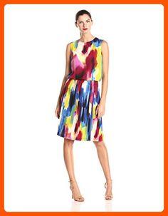 Donna Morgan Women's Sleeveless Rainbow Print Pleated Skirt Dress, Multi, 4 - All about women (*Amazon Partner-Link)