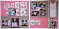 """Credit:  Stacy's Scrap Corner ~ Lollydoodle.  I pinned this for the (1) title [words] (2) title [I can weld letters and an ampersand together to create a similar one (3)  the LO in general -- she managed to get 9 pics on a 2-page spread and still has lots of """"white"""" space [or, in her case, pink.  LOL]"""