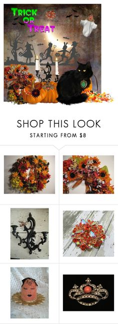 """""""Trick or Treat with Etsy"""" by cravecute ❤ liked on Polyvore featuring interior, interiors, interior design, home, home decor, interior decorating and vintage"""