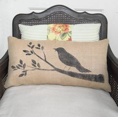 Bird on a Branch - Burlap  Pillow - Handpainted Bird Pillow with Tree Branch Design. $30.00, via Etsy.