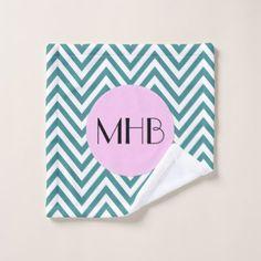 Monogram - Zigzag Chevron Pattern - Blue Pink Bath Towel Set - diy individual customized design unique ideas