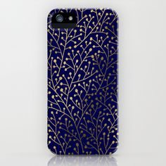 Gold Berry Branches on Navy iPhone & iPod Case