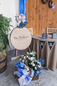 Royal Blue Flower Basket Banner Rustic Country Barn Wedding in Tennessee https://www.sweetlyvintage.com/