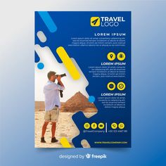 Travel flyer template with photo Free Vector Youtube Banner Design, Web Banner Design, Flyer Design, Printable Banner, Banner Template, Flyer Template, Travel Logo, Business Travel, Design Plat