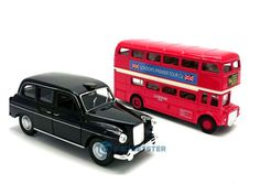 London Red Double Decker Bus Taxi Black Cab Die Cast Metal Model Toy Gift Boxed