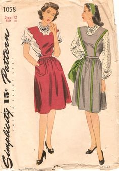 Charming 1940s jumper dresses - Simplicity 1058. #vintage #1940s #sewing_patterns