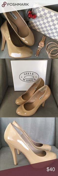 Steve Madden Traisie Nude Patent Pumps Compliment any holiday look with these sassy nude patent pumps! Pair them with your favorite skinny jeans for a more casual look. Heel measures 5 inches and are like new. Only worn one time. Minor scuffs on the front and side of each shoe that are only visible up close. Original box will be included. Steve Madden Shoes Heels