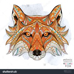 Patterned head of the red fox on the grunge background African indian totem tattoo design It may be Stock Vector Totem Tattoo, Primitive Dining Rooms, Primitive Bedroom, Fox Stock, Tattoo Designs, Diy Y Manualidades, Zentangle, Fox Illustration, Design Illustrations