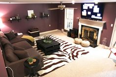 Dark Basement Becomes A Cozy Family Room