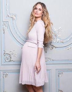 091bacdf75a96 Designed to highlight your empire waist, our Blush Pink Pleated Maternity  Dress is a flattering. Seraphine