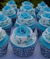 blue rose tea cup cup cakes