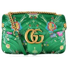 Gucci Floral Jacquard Marmont Bag ($1,500) ❤ liked on Polyvore featuring bags, handbags, gucci, clutches, verde, print handbags, chain-strap handbags, floral handbags, chain strap purse and chevron print purse