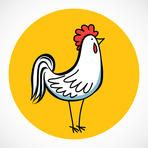 Hand drawn cartoon rooster isolated on bright yellow circle.