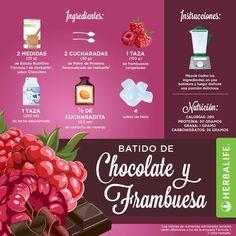Rico Batido de Chocolate y Frambuesa #productos #Herbalife (Recetas Fitness Cena)