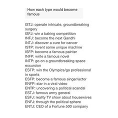 MBTI How Each Type Would Become Famous