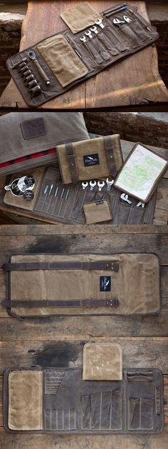 Tool roll for the truck # tool roll - leder - Motorcycle Tool Organization, Tool Storage, Diy Storage, Tool Roll, Kydex, Leather Projects, Cool Tools, Leather Tooling, Tool Kit