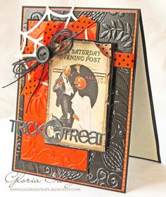 handmade Halloween card ... Graphics 45 paper image ... vintage look ... luv the embossed and sanded Coordinations paper in the background ...