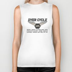 "Biker Tank. 100% combed jersey cotton, ""Boyfriend"" fit. In white only."