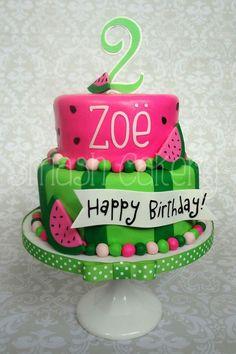Summer Time or watermelon theme cake Watermelon Birthday Parties, Summer Birthday, 1st Birthday Parties, 2nd Birthday, Birthday Ideas, Mini Cakes, Cupcake Cakes, Savoury Cake, Themed Cakes