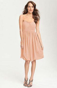NWT$265 Jenny Yoo 'Keira' Convertible Strapless Chiffon Dress BLUSH PEACH SIZE 6