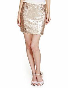 Gold Mix Sequin Embellished Mini Skirt