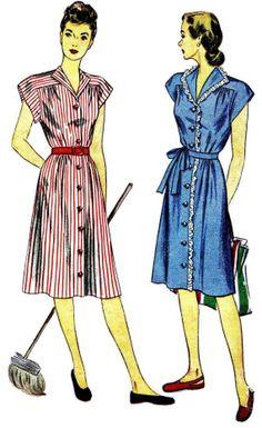 1940s Front Button Dress Pattern Womens Shirtdress by patternshop Jade  Dress e39fe571e