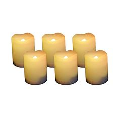 Set of 6 Round Melted Edge Votive Flameless LED Candles with Timer - Ivory