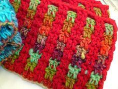 Interlocking block stitch stripes... Interlocking block st. of 2dc 2 ch will give you a fantastic striped stitch. Change the colour combina...