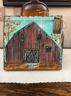 Rustic red barn in fall, old red barn handpainted onto a thick rough hewn wood board. Standalone chunky wood by DDOvercastHandmades on Etsy Block Painting, Painting On Wood, Pallet Painting, Log Cabin Christmas, Old Wood, Salvaged Wood, Weathered Wood, Pumpkin Pictures, Barn Paintings
