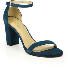 Stuart Weitzman Nearlynude Suede Block Heel Sandals ($398) ❤ liked on  Polyvore featuring shoes