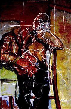 Riposo del gondoliere. - Elaborazione digitale di un mio dipinto del 1948.