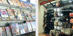 estanteria metalica para revista con estantes inclinados y fondos ranurados y estanteria con marquesina para exposicion de productos de deporte