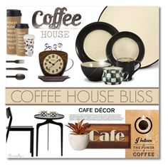 """""""Coffee House Bliss"""" by nonniekiss ❤ liked on Polyvore featuring interior, interiors, interior design, home, home decor, interior decorating, Alpine, CB2, MacKenzie-Childs and Kate Spade"""