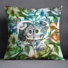 Blue Green and Gold Sugar Skull Couple Decorative Throw Pillow
