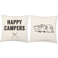 Happy Campers Throw Pillows - Set of 2
