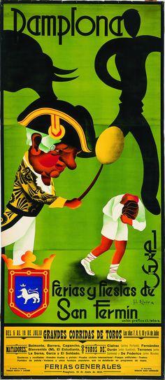 Lol, why is that dude in the hat beating that other dude? Cartel de los Sanfermines de 1935 - Fiestas y ferias de San Fermín, Pamplona :: Autor: José Luis Elvira Vintage Advertisements, Vintage Ads, San Fermin Pamplona, Old Poster, Running Of The Bulls, Old Ads, Pulp Art, Advertising Poster, Vintage Travel Posters