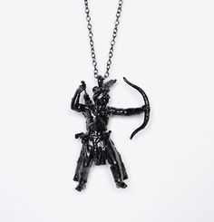 Upcycled DIY handmade design jewelry, black figurine pendant.