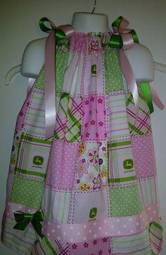 John Deere All Over Print  Pink Pillow Case Dress by Grannyzann, $26.00