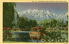 MEMORIAL PARK PROVO UTAH MT. TIMPANOGOS LINEN POSTCARDS