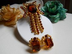 Vintage Topaz Orange and Gold Bead Dangle by JanesVintageJewels, $52.00