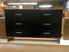 WYTHE 6 dresser in walnut veneer with black lacquer drawers. #dresser  #walnut #